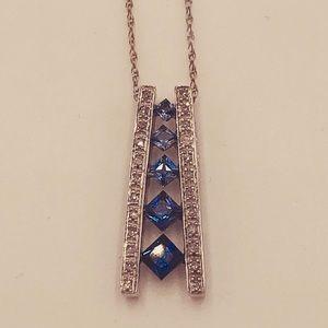 Sapphire and diamond white gold 10 karat